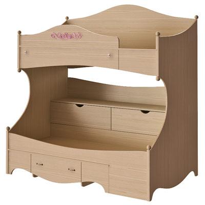 Кровать 2 х ярусная правая N1932R дуб светлый/розовый