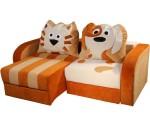 Угловой диван детский с кошками и собачками