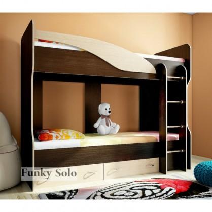 Детская двухъярусная кровать Фанки Соло 4 Венге/Дуб кремона