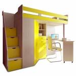 кровать чердак Фанки Соло 1 дуб кремона / желтый
