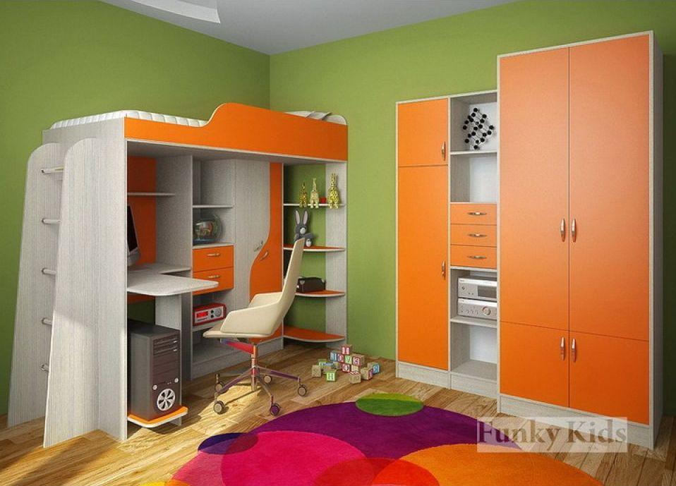 Детская кровать Чердак фанки кидз 15 св оранж : детская мебе.