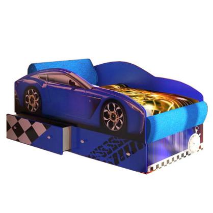 Кровать машина Тесла синяя