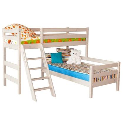 Двухъярусная кровать Соня 8 из массива угловая