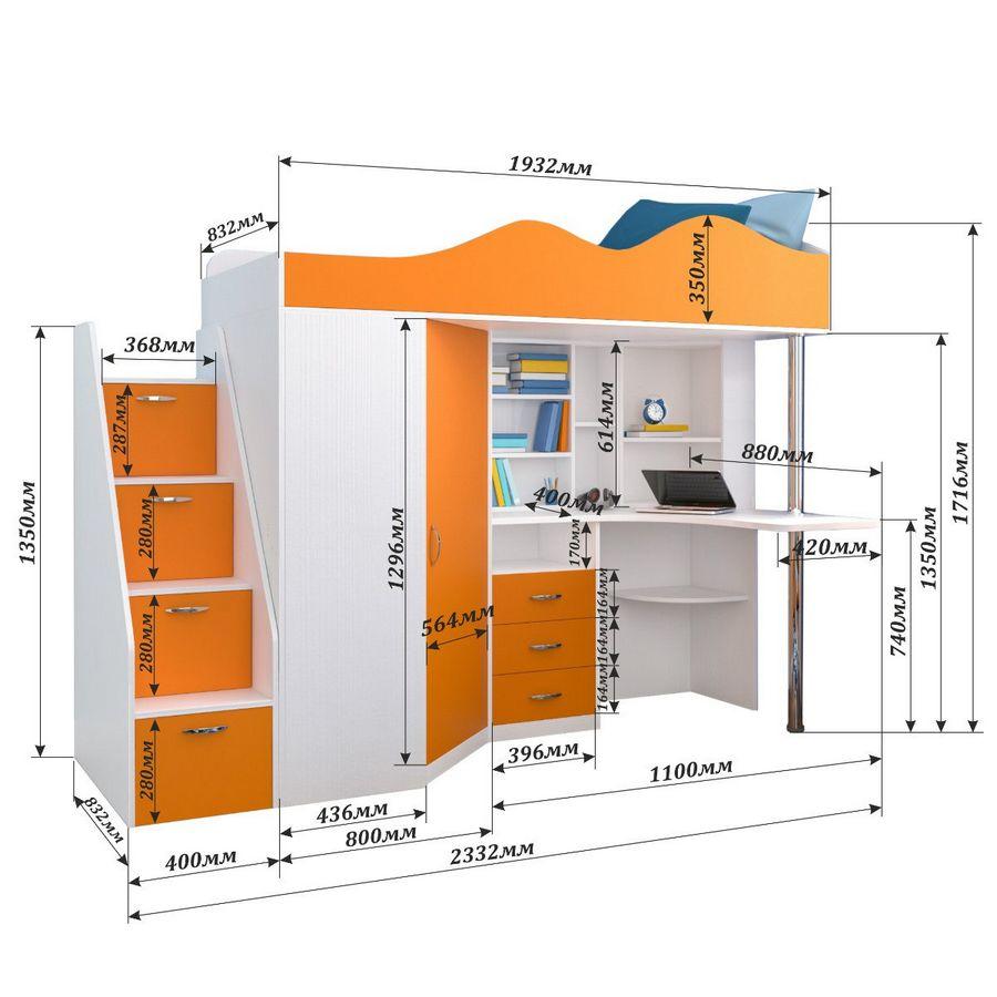 Схема сборки двухъярусной кровати со шкафом