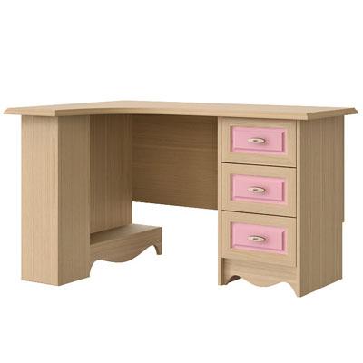 Стол письменный угловой левый N0716L дуб светлый/розовый