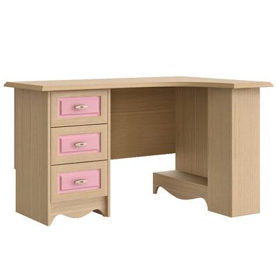 Стол письменный угловой правый N0716R дуб светлый/розовый