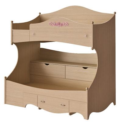 Кровать 2 х ярусная левая N1932L дуб светлый/розовый