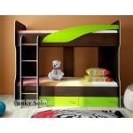 Двухъярусная кровать Фанки Соло Венге/Зеленый