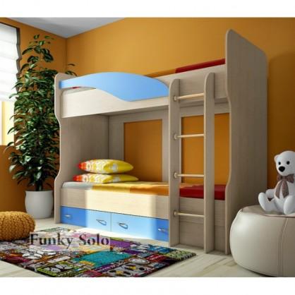Детская двухъярусная кровать Фанки Соло 4 Бук/Голубой