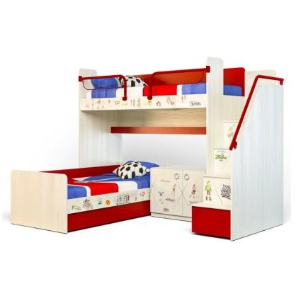 Кровать двухъярусная угловая высокая Актив-3 и Актив-1