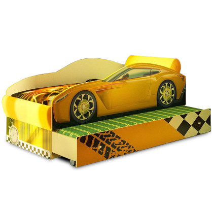 Кровать машина Тесла желтая